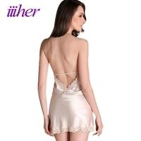 Iiiher Sexy Sleepwear Female Temptation Night Dress Womens Nightgown Summer Lace Stain Nightgown Spaghetti Strap Belt