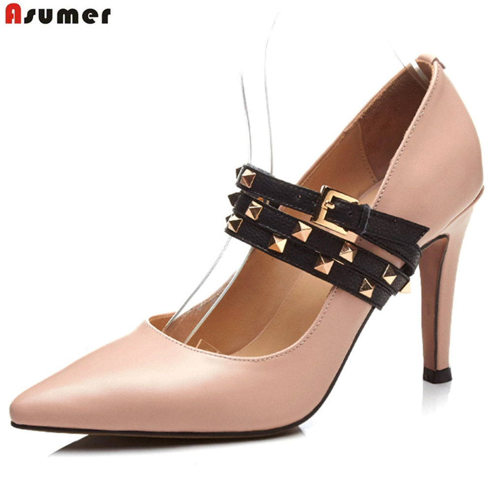 ASUMER apricot pink fashion spring autumn new pumps shoes pointed toe buckle elegant women genuine leather high heels shoes цена
