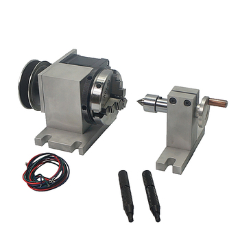 CNC tailstock and 4th Rotary Axis with Chuck 65mm for cnc cutting milling machine 4 jaw rotary axis with tailstock for cnc milling drilling machine