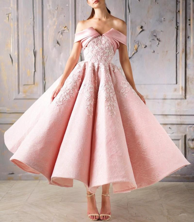 Off The Shoulder Pink   Prom     Dress   Lace Appliqued Tea Length Ball Gown Evening Gowns 2019 New Homecoming   Dress
