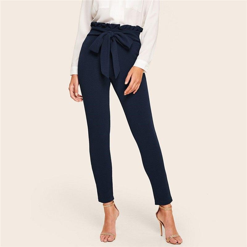 SHEIN Elegant Paperbag Waist Belted Detail Solid High Waist Pants Women Skinny Frill Trim Elastic Waist Spring Summer Pants 9