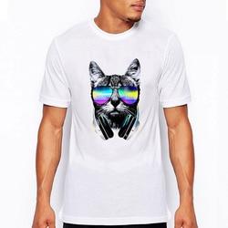 Summer fashion men tee shirt short sleeve music dj cat printed funny punk t shirt men.jpg 250x250