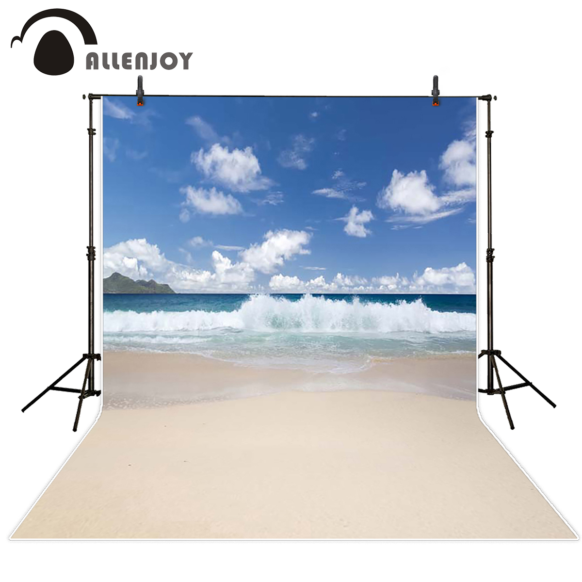 Allenjoy seaside Photo background spindrift the distant mountain blue sea water clouds photography backdrops photograph