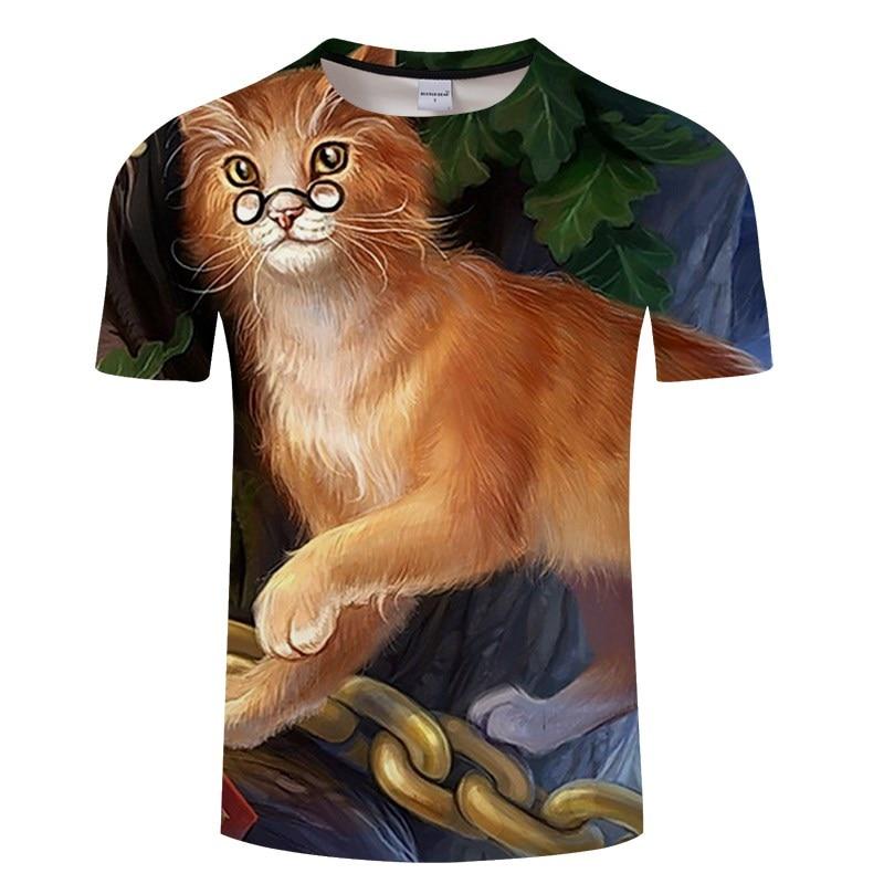 Черная футболка с 3D принтом кота для мужчин и женщин, летняя повседневная футболка с коротким рукавом и круглым вырезом, Топы И Футболки, Забавные футболки, Азиатские размеры S-6XL - Цвет: TXKH3152