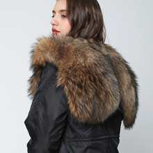 OFTBUY Waterproof Parka Winter Jacket Women Fur Coat Raccoon Fur Collar Rabbit Fur