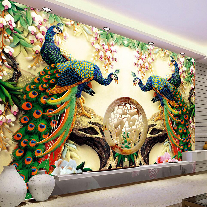 Chinese Style Classic Peacock Green Branches 3D Nature Wallpaper Living Room Backdrop Wall Home Decor Non-Woven Mural Wall Paper