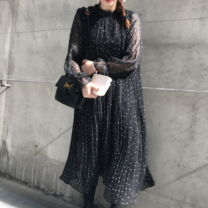 chic retro polka dot chiffon long sleeve dress mori girl 2018 spring