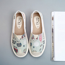 Sweet Women's Flat Shoes Summer 2019 Breathable Graffiti Canvas Espadrilles Women Loafers Slip on Shoes Ladies Flats White