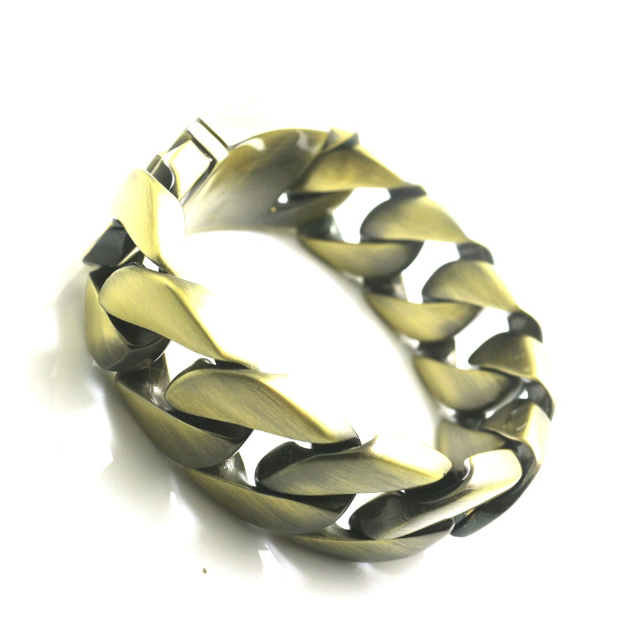 Bracelet en acier inoxydable 316L pour hommes de 25 MM Style motard Vintage - 3