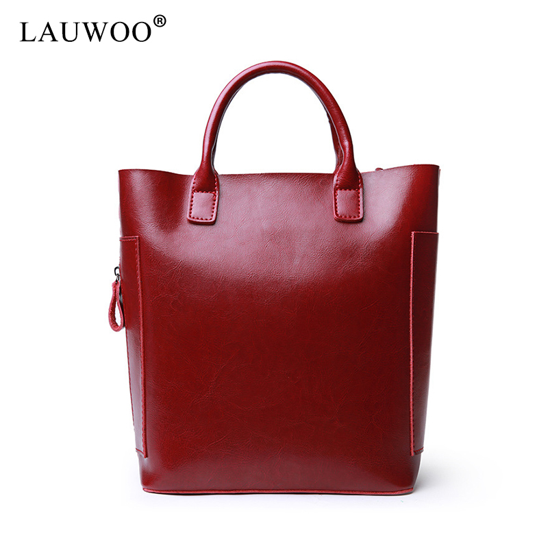 LAUWOO fashion women luxury brand genuine Leather Tote handbag Female shoulder bag Lady's Large Leisure Casual Bucket Bag lauwoo fashion women luxury brand handbag female crocodile prints genuine leather shoulder bag lady elegant tassels tote bags