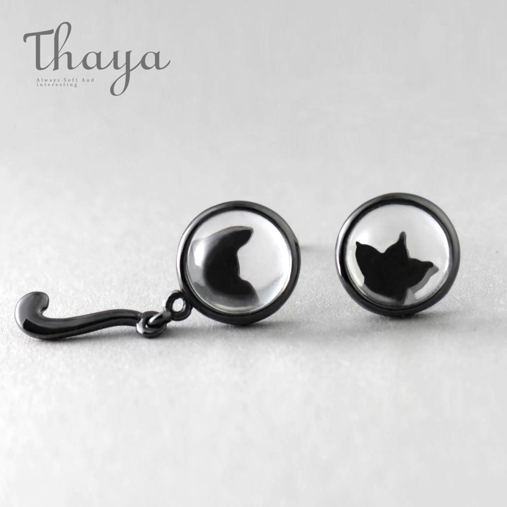 7ddc082c1 Thaya Hiding Cat DDesign Stud Earrings Crystal Enlarge Cats s925 Silver Asymmetry  Black Earring for Women Elegant Jewelry