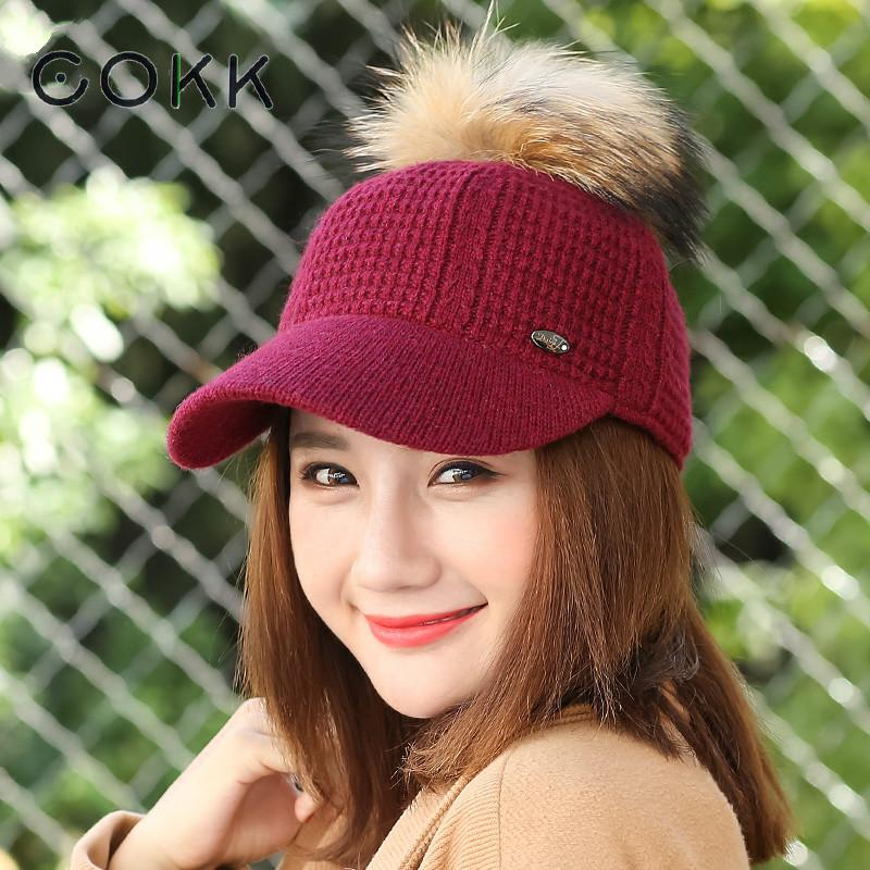 COKK Winter Hats For Women Knitted Cap Real Raccoon Fur Pompom Snapback Hat Female Thick Warm Winter Cap Bone Baseball Cap Women pop winter raccoon fur hats real 15cm fur pompom beanies cap natural fur hat 1pc