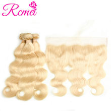 613 Blonde Bundles With Frontal Closure Brazilian Body Wave Ombre Honey Brown Wine Red Colored RemyHuman Hair Weave Bundles Rcme(China)