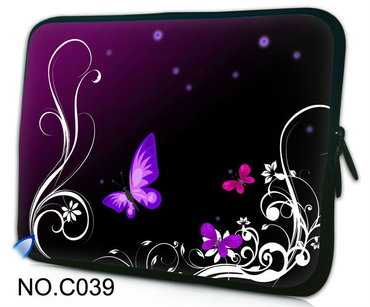 Purple butterfly Soft Neoprene Netbook Laptop Sleeve Case Bag Pouch Cover For 13