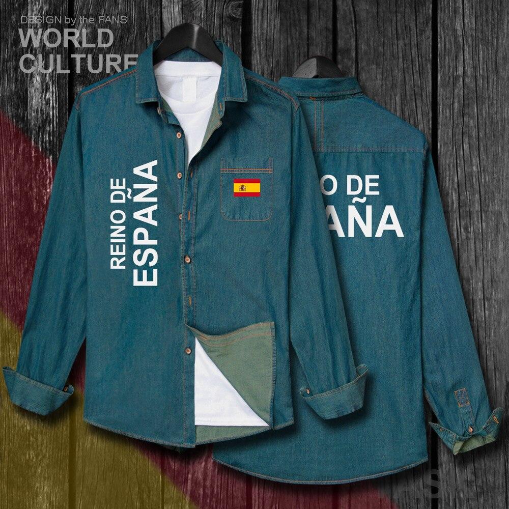 Kingdom Of Spain Espana ESP Spanish Spaniard Men Clothes Autumn Cotton Turn-down Collar Jeans Shirt Long Sleeve Cowboy Coat Tops