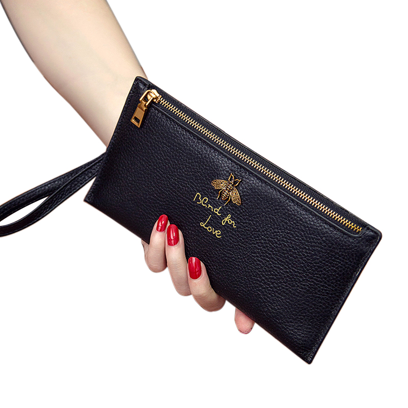 Natural Skin Genuine Leather Lady Wallet Female Long Zipper Slim Purse Bees Letter Print Soft Luckly Simple Tide Wallets New цена 2017