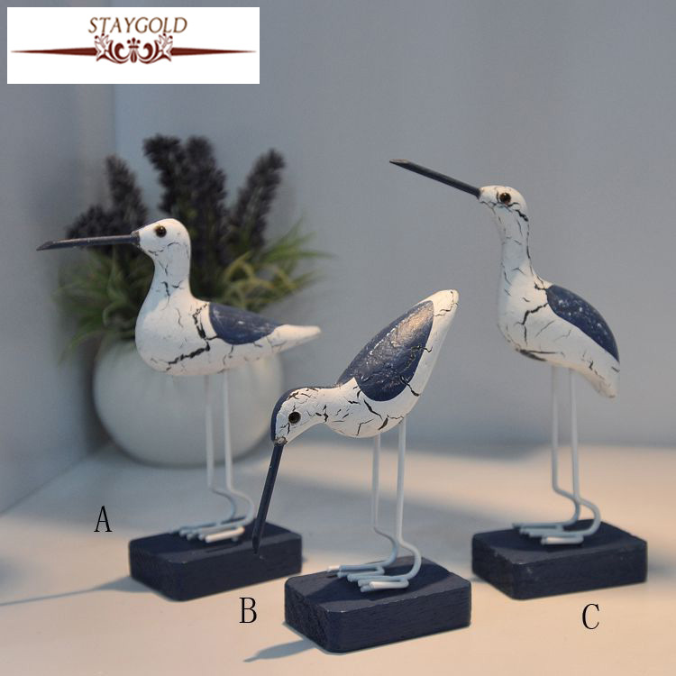 Marine Wooden Seabirds Mediterranean Style Wooden Crafts Creative Photography Scenery Wood Carving Home Decoration Accessories