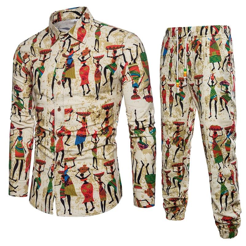 Рубашка + брюки с длинным рукавом рубашка 2018 модный тренд Личность Мужская Повседневная рубашка больших размеров с принтом рубашки мужские