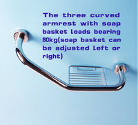 Three Curved Armrest Bathroom Grab Bars Solid Stainless Steel Bathtub Hand Rails With Soap Basket