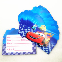 10pcs/set Lightning Mcqueen Party Supplies Invitation Card kids Cars Decorations Boys Birthday