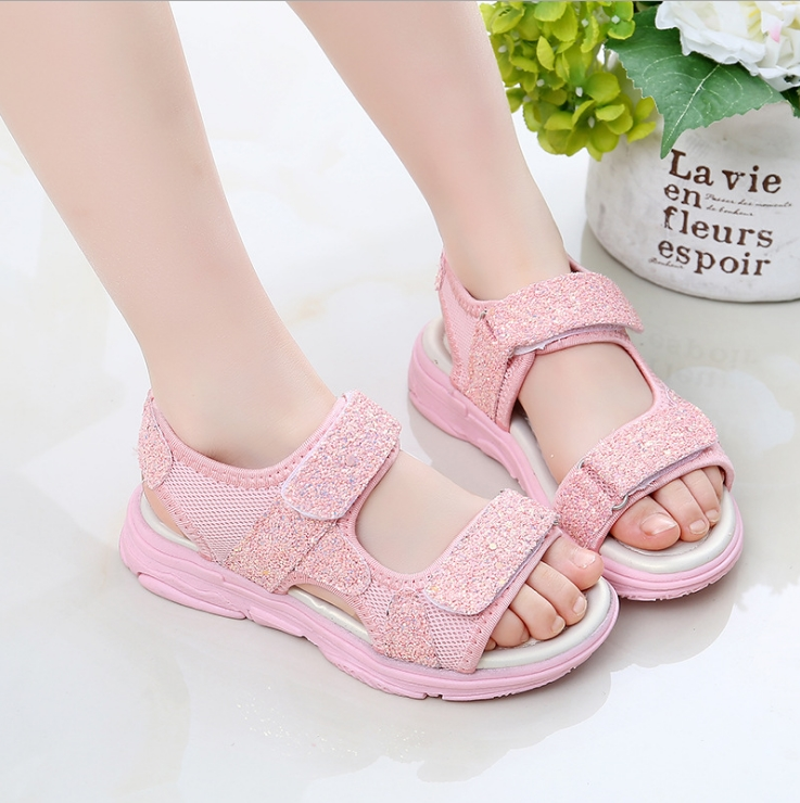 Girls  Sandals  New  Version Of The Summer Soft Bottom Fashion Little Princess Sandals In The Big Children Students Sport Shoes