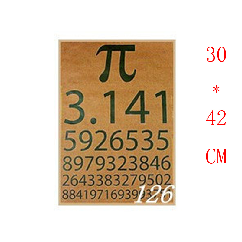 NO.126,Free shipping,math term Pi/Famous design view/kraft paper/Wall stickers/Retro Bar Poster/decorative painting30x42cm