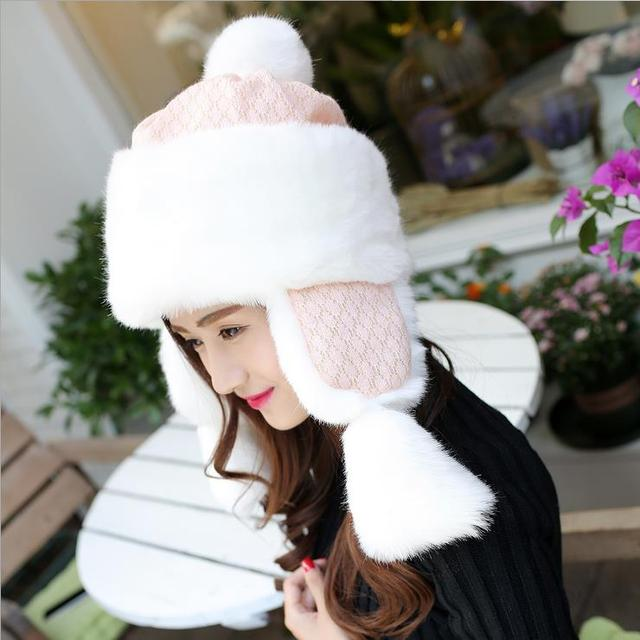 2016 Exclusive New Winter Plus Velvet Thick Warm Cold Ms. Ear Hat Upscale Korean Mongolian Princess Lace Cap Outdoor Bomber Hats