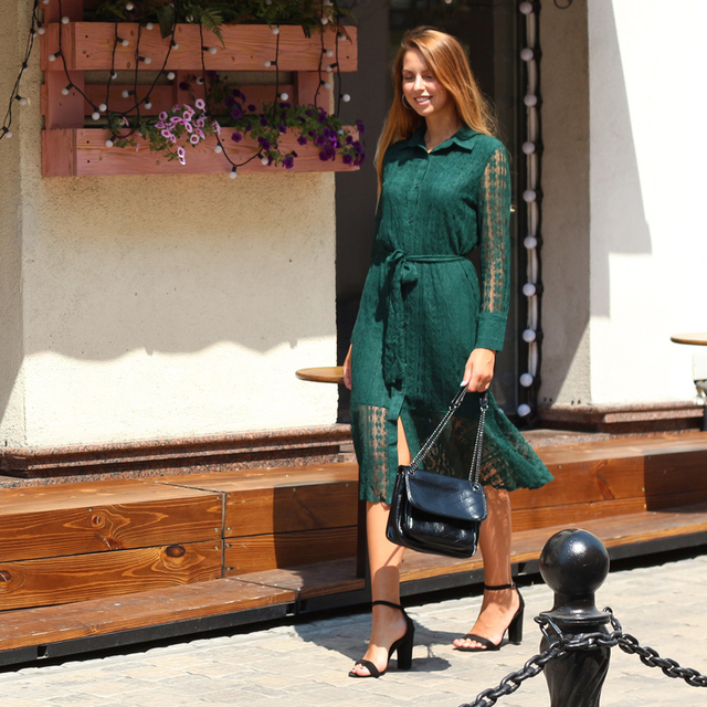 great lace bottom long v neck long sleeved dress, light print office to day 4