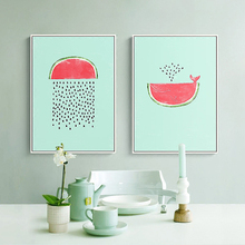 Watermelon Seed Rain Fountain Canvas Wall Picture Light Blue Pink Based Mural Poster Chic Nordic Art Drawing for Home Cafe Decor