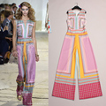 High Quality 2016 Summer And Autumn New Plaid Fashion T Station Serves Prints Sleeveless Jumpsuit Women Loose Elegance