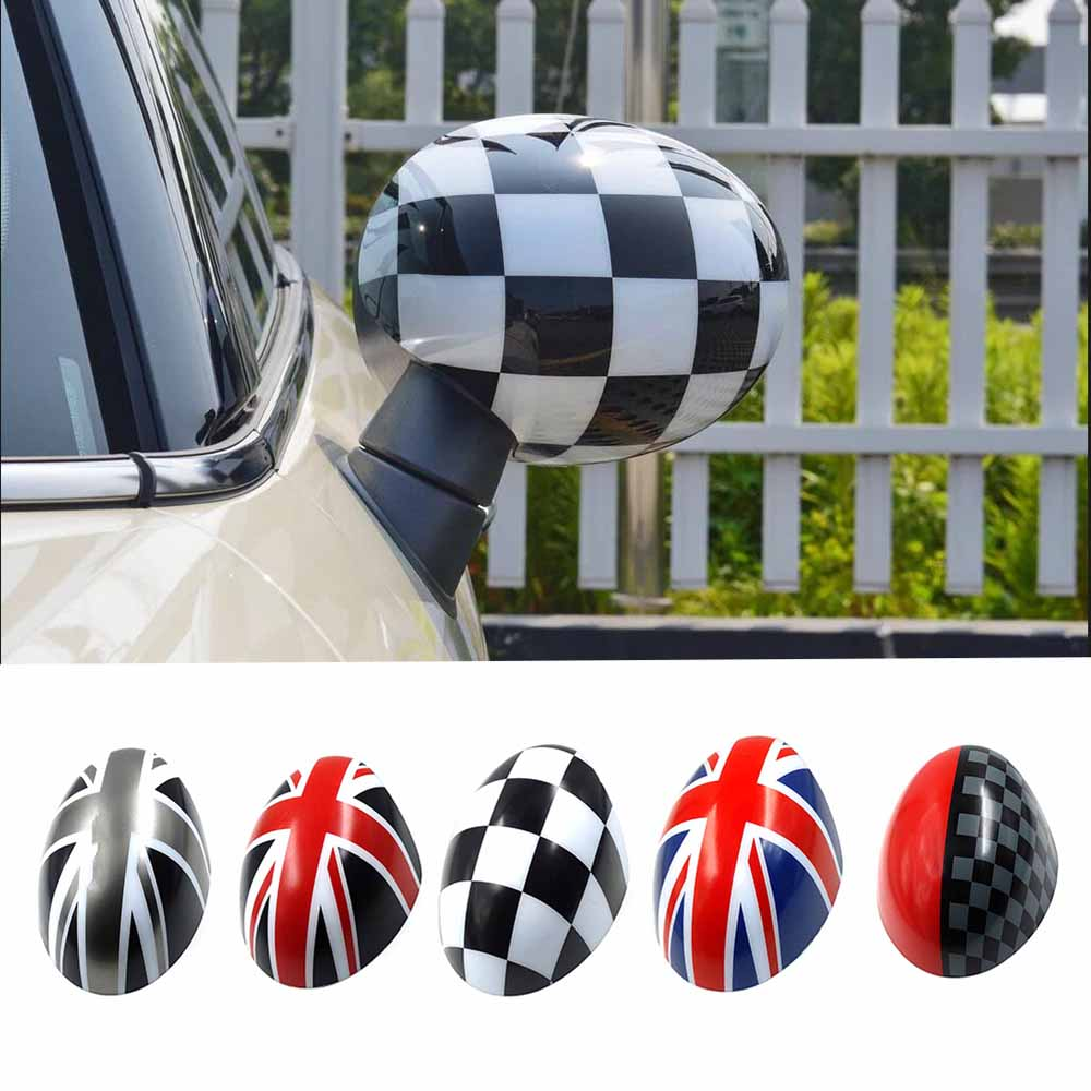 2pcs Door Rear View Mirror Covers Stickers Car-styling For Mini Cooper S Clubman Countryman Paceman R55 R56 R57 R58 R59 R60 R61 car 3 5mm audio cable mini cooper one s jcw r55 r56 r57 r58 r59 r60 r61 f56 f55 clubman countryman 80cm car aux cable