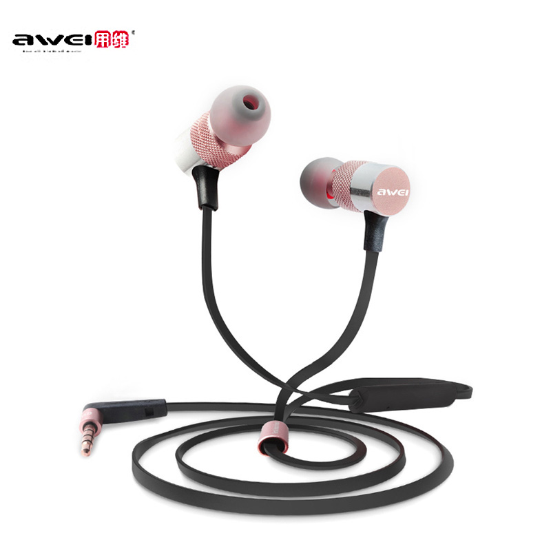 AWEI ES-20TY Earphones Wired Stereo HiFi Music 3.5MM Plug Foldable In-Ear Built-in Mic for Android iOS Smart phone awei q5i in ear earphones with mic gold