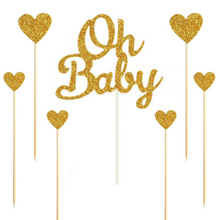 7pcs Gold/Silver Glitter Baby Shower Cake Topper 1th Birthday Party Heart Love Supplies Wedding Decor