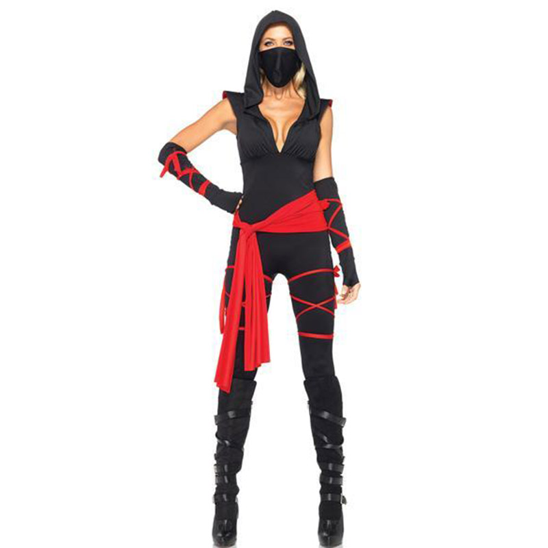 Halloween Sexy Ladies Women Female Ninja Costume Cosplay Lingerie Black Cosplay Stage Costumes with Mask W8280