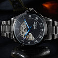 New WINNER Men's Automatic Mechanical Watches Roman Dial Black stainless steel Strap Hand wind Male Wristwatch Relogio Masculino