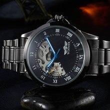 Nuevo ganador hombres mecánicos automáticos de relojes romano Dial negro correa de acero inoxidable para hombre eólicos mano reloj Relogio Masculino