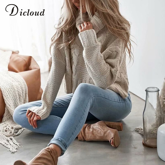 137135fb5a6 Dicloud turtleneck coarse knitted cropped sweater off white warm women  winter jumper casual pullovers ribbed beige jersey female