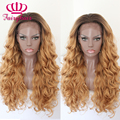 Fashion Ombre Brown/Blonde Natural Lace Wigs Glueless Heat Resistant Hair Wigs Loose Curl Synthetic Lace Front Wigs For Women