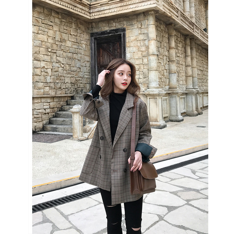 Women Blazer Casual Notched Plaid 2019 Spring Coats Fashion Long Sleeve Coat Double Breasted Female Plaid Blazer Korean