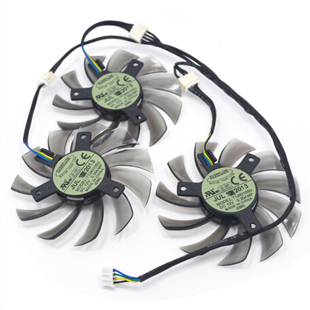 3Pcs/lot EVERFLOW Graphics Card Fan T128010SU for GIGABYTE N6700C 6800C 7600C 7700C N960 970 980 GTX770 760 video card cooling new original graphics card cooling fan for gigabyte gtx770 4gb gv n770oc 4gb 6 heat pipe copper base