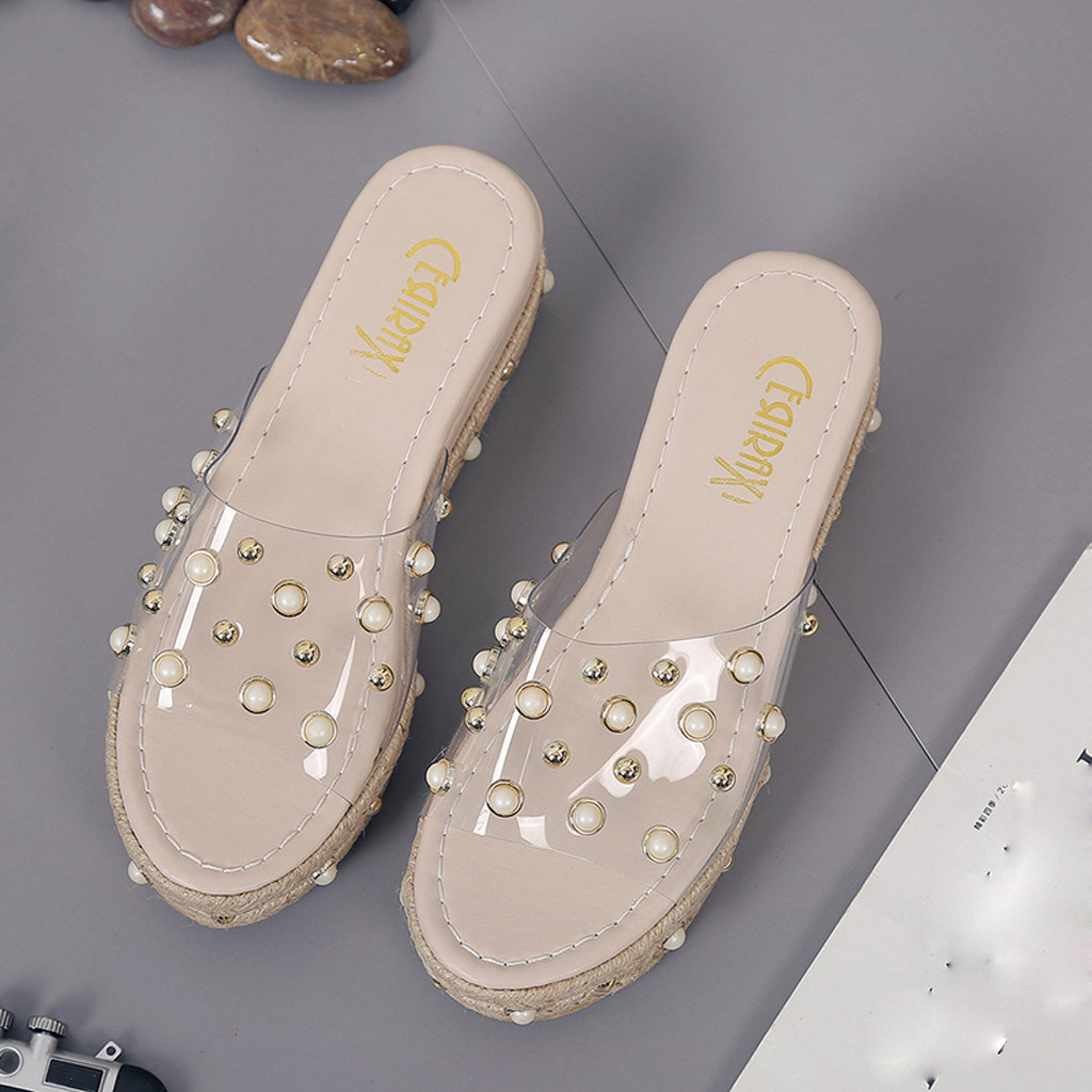 HTB1ywrKaND1gK0jSZFyq6AiOVXag Fashion Jelly Sandals Summer Candy Slippers Woman Shoes Flats Ladies Womens Zapatos Mujer Slip On Pearl Beach Wedges Jelly Shoe