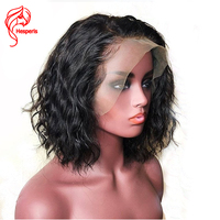 Hesperis Human Hair 360 Lace Frontal Wigs With Side Part Peruvian Remy Wave 360 Short Cut Bob Lace Wigs Pre Plucked