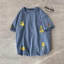 2019 New Cotton  Harajuku Streetwear Pokemon Detective Pikachu Cartoon Short Sleeve Casual Funny T Shirt