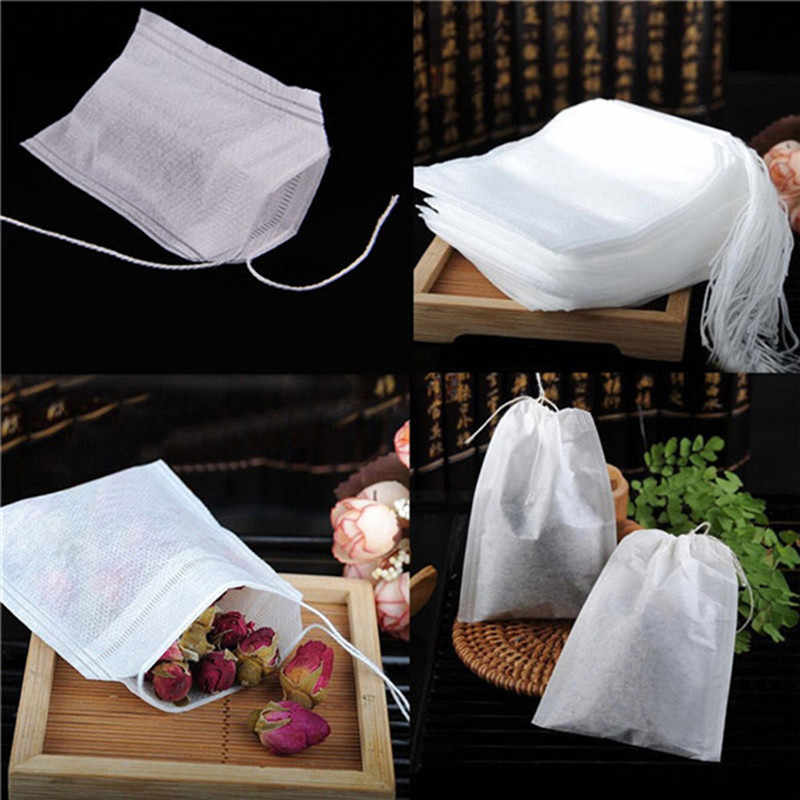 ISHOWTIENDA Tea Bags 100PCS Empty Scented Drawstring Pouch Bag 5.5*7CM Seal Filter Cook Spice Loose Coffee Pouches Tools