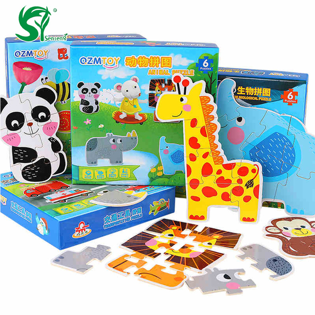 Wooden Toys For Children Colorful And Cartoon Animals Puzzle Toy
