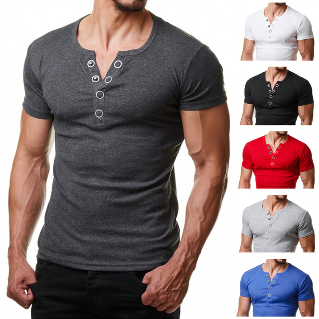 2d5a9ea98d23 Henley T Shirt Men 2019 Summer Fashion V Neck Short Sleeve Tee Shirt Homme  Casual Slim