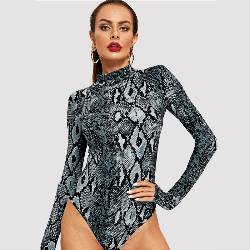 2019 Newest Stand Collar Animal Snake Print Sexy Bodysuit Women Clothes 2019 Spring Streetwear High Waist Long Sleeve Bodysuits