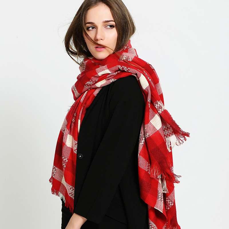 Fashion Plaid Scarf Women White Red font b Tartan b font Foulard Femme Luxury Brand Blanket