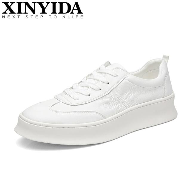 Hot Sale Korean Fashion Men White Shoes Men's Lace-up Breathable Increased Flange Casual Shoes Men Skateboard Shoes Size 38-44
