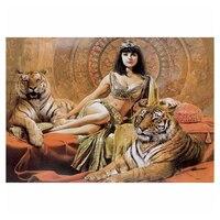 5D DIY Diamond Painting Tiger Girl Cross Stitch Full Drill Pattern Resin Diamond Embroidery Diamond Mosaic